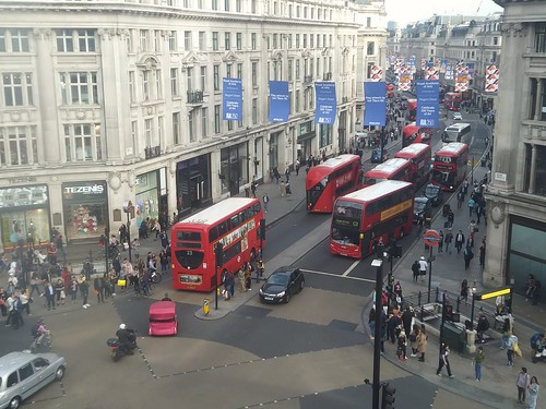 A mass of buses on Regent Street at Oxford Circus, Westminster, London