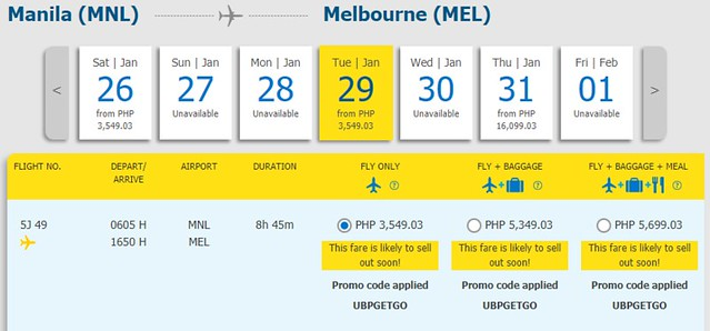 Manila to Melbourne Cebu Pacific Promo January 29, 2019