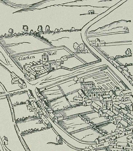 Clerkenwell Green and vicinity in the 1560s