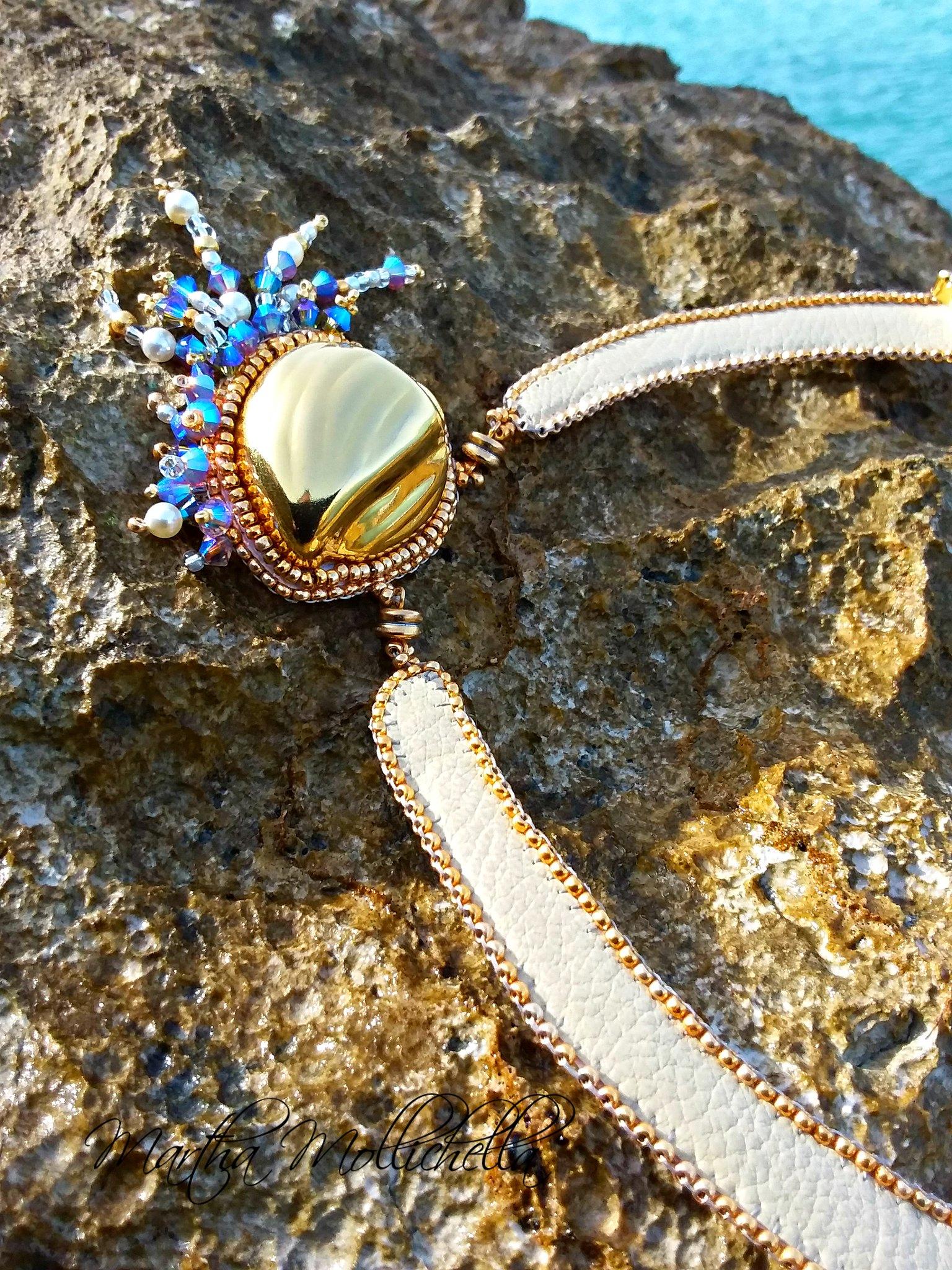 Shibori bead embroidery sea necklace by Martha Mollichella