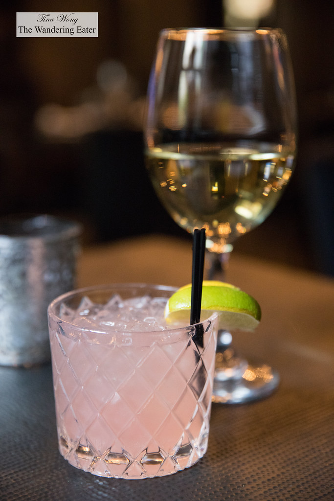 Summer Rose (Citrus vodka, watermelon, rose, pomegranate cordial, lime and soda) and 2017 Ouled Thaleb, Medallion Sauvignon Blanc, Morocco