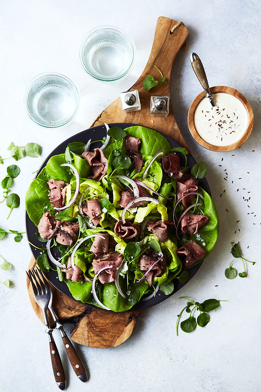 Beef on Week Salad with Horseradish Caraway Dressing {Paleo, Keto, Whole30}