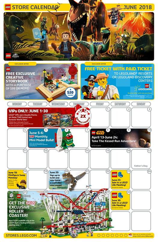 LEGO June 2018 Store Calendar Front