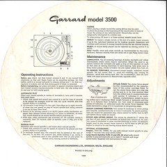 Garrard Model 3500 Back Instructions