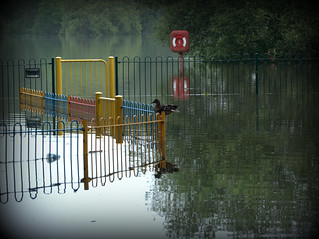 Kingsbury Water Park - Flooded - playground fence