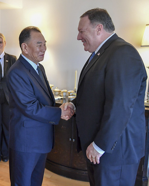 Secretary Pompeo Greets DPRK Vice-Chairman Kim