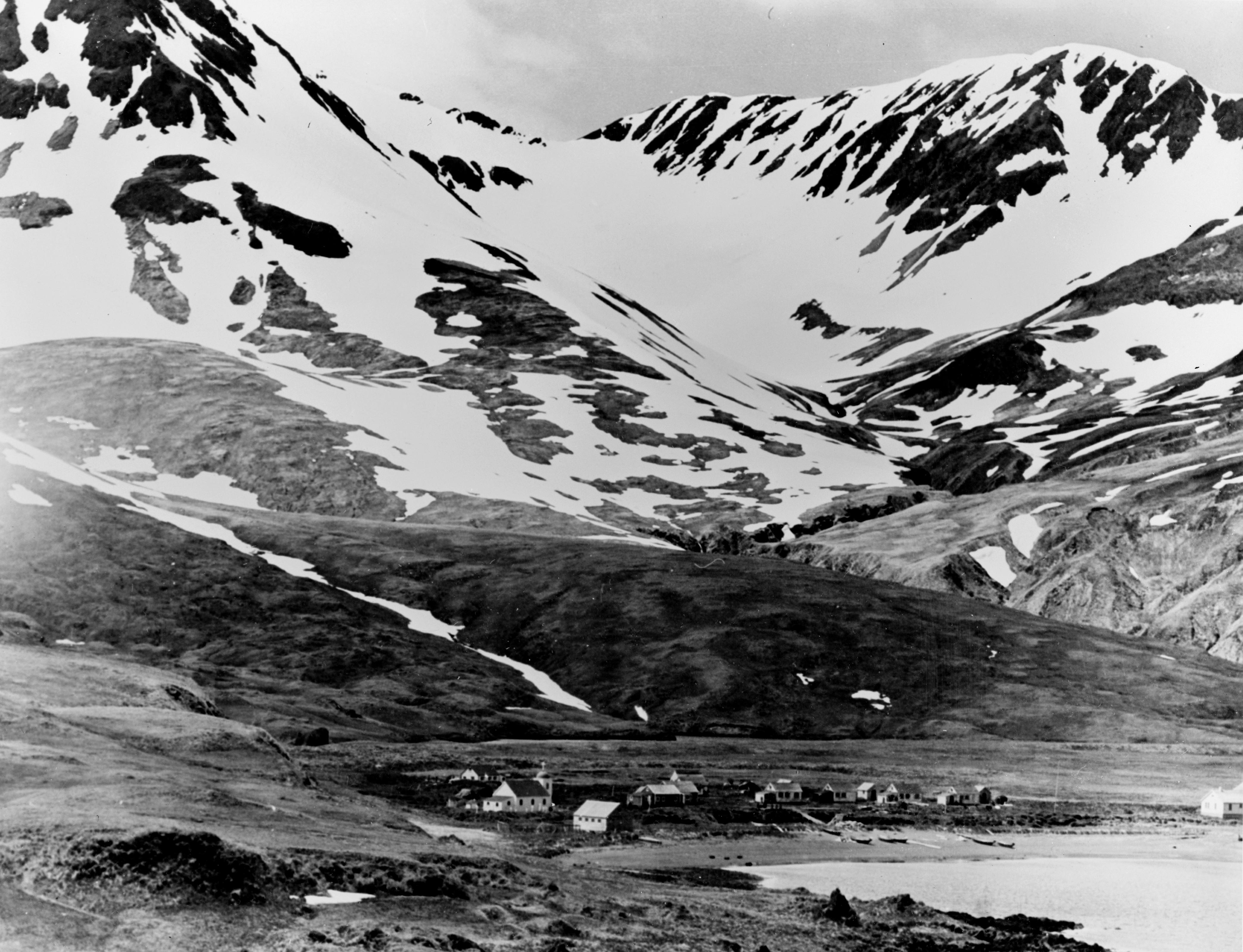Attu village, Attu island, Alaska (USA), in June 1937. Original caption: