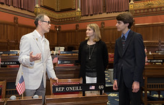 Rep. Arthur O'Neill discusses the history of the House of Representatives with Shepaug High School students Bridget Snyder and Wilson King. Earlier, the students were honored  with the Connecticut Global Engagement Certificate during a ceremony at the Capitol.