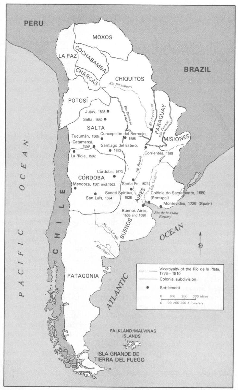 Maop of Argentine hiistory, 1776-1810