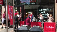 Queue in Fountain Street, Belfast, for the opening of the first Tim Hortons in Northern Ireland.