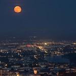 Full Moon Rising over Vienna, 30th May 2018