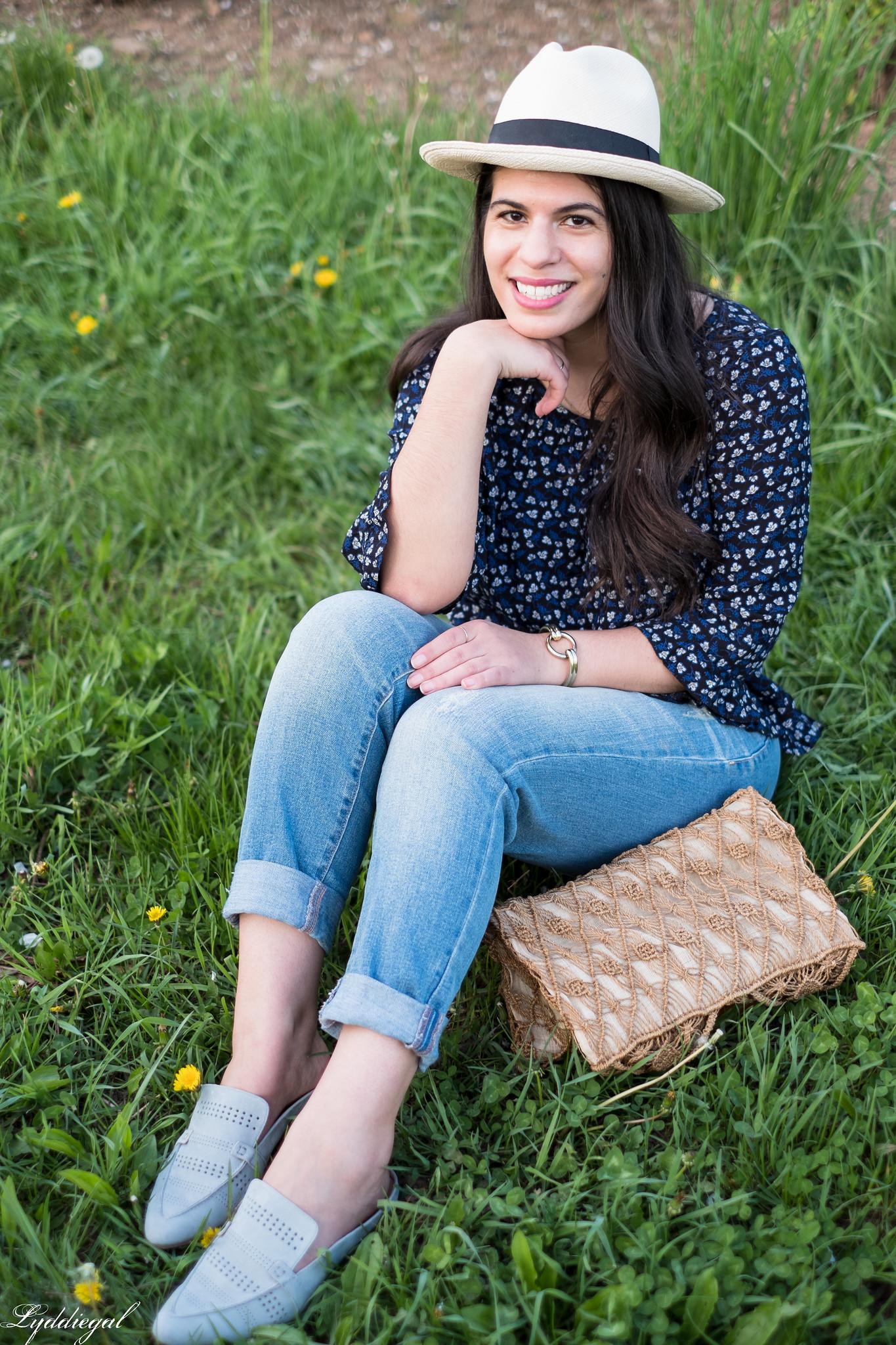 blue floral blouse, boyfriend jeans, loafers, macrame bag, panama hat-17.jpg