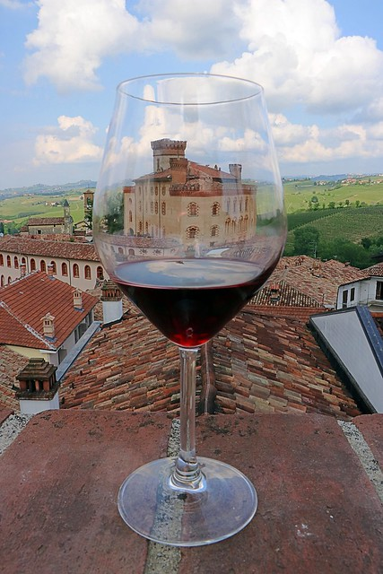 Glass of Barolo