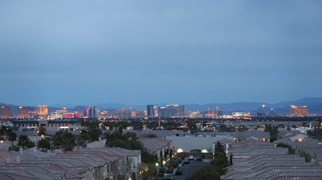 View of the Las Vegas Strip from my apartment's rooftop lounge