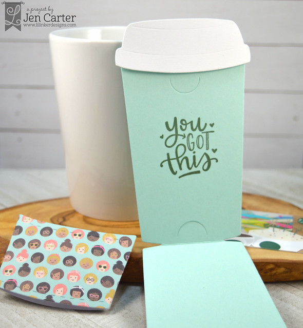 Jen Carter To Go Coffee Cup Gift Card Holder Die Coffee Talk 2 Striped Inside wm