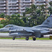 Texas Air National Guard F-16 from the 149th Fighter Wing take off from Luis Muñoz Marín airport in San Juan, Puerto Rico