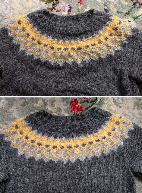 Above: a colourwork yoke jumper before blocking, rumpled and uneven. Below: the same jumper, smooth and freshly blocked