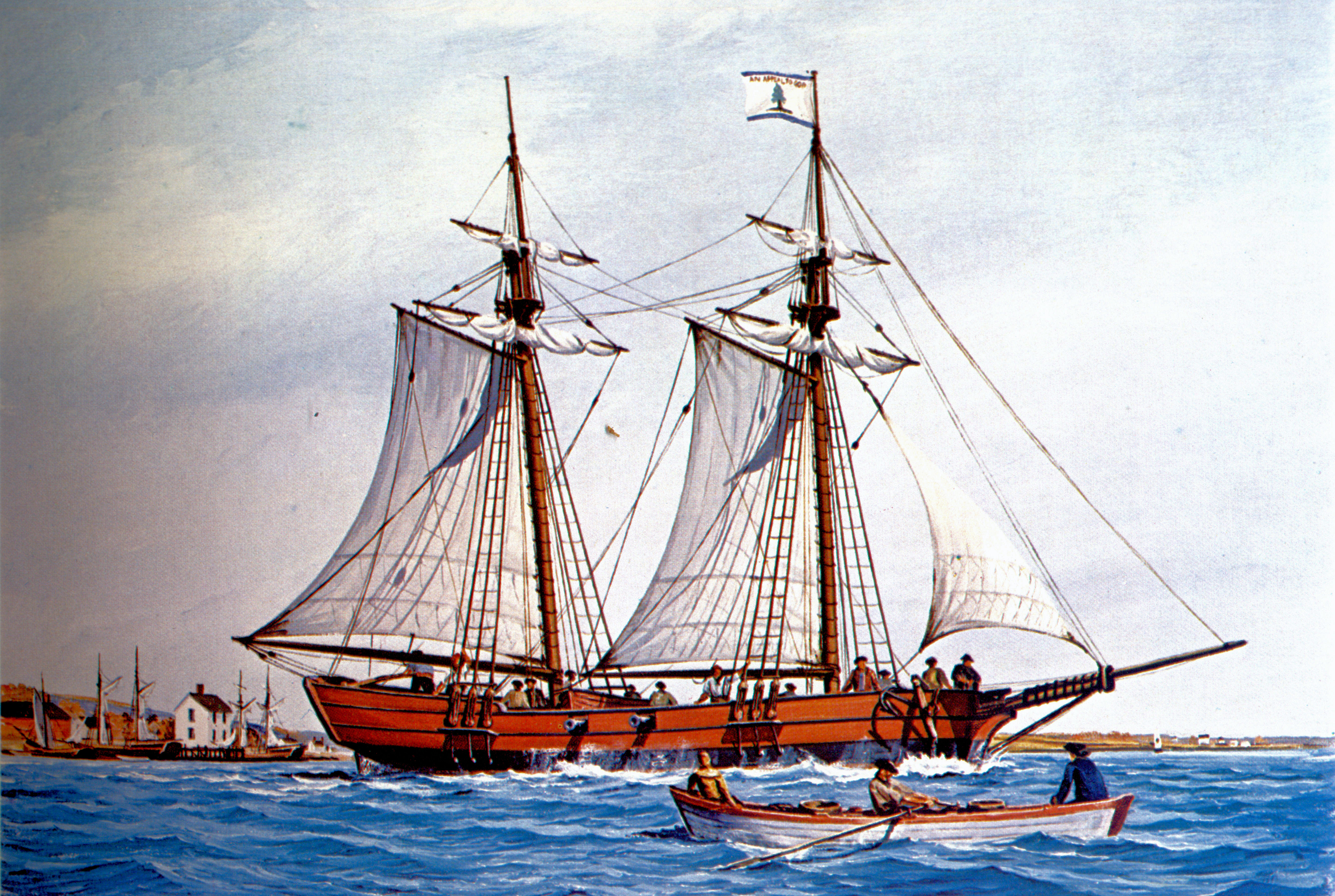 Continental Army Schooner Hannah sailing on patrol from Marblehead, Massachusetts. A modern painting by Nowland Van Powell. Hannah is a conjectural reconstruction based on typical vessels of the period. From Van Powell, The American Navies of the Revolutionary War