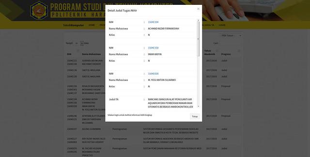 Website D3 Teknik Komputer Dan Sistem Informasi Kerja Praktek / Tugas Akhir Politeknik Tegal - Front End