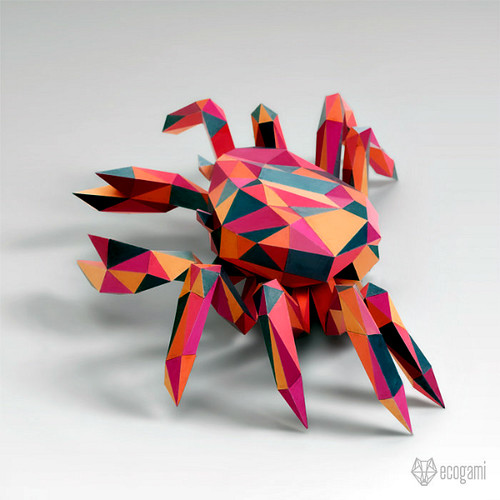 Ecogami Low Poly Paper Crab Model
