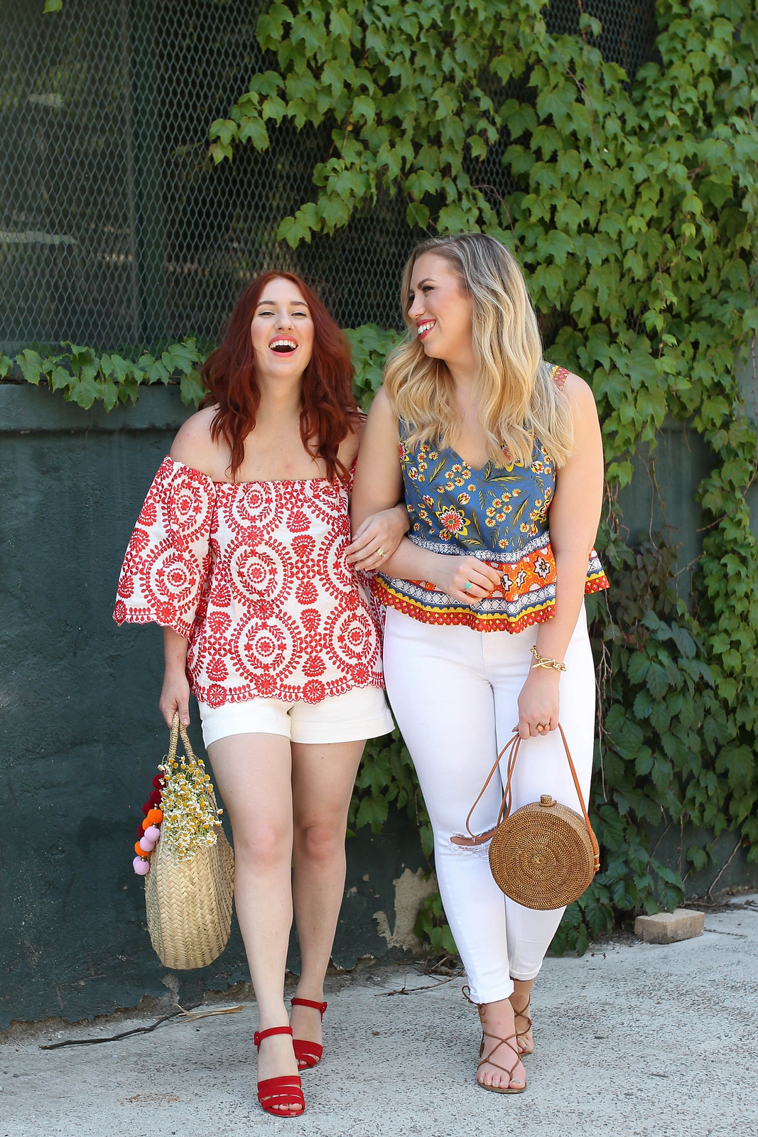 Colorful Printed Tops White Jeans Straw Bags Summer Outfit Inspiration