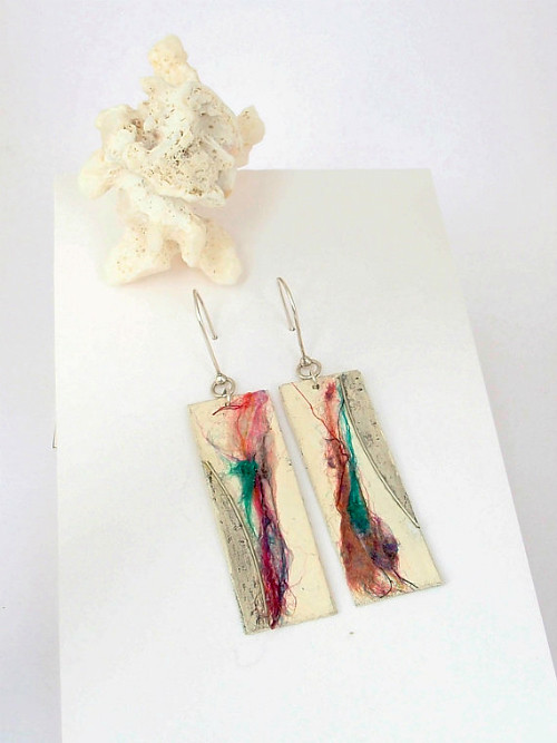 Paper and Silk Thread Drop Earrings by Ni Jewellery