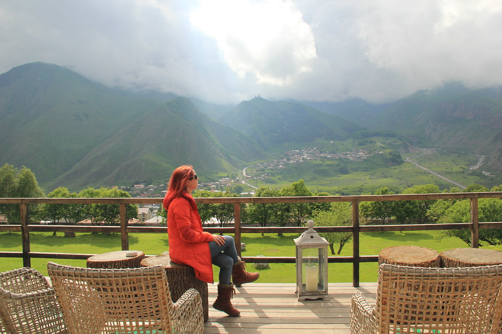 Enjoying the view out on the terrace of Rooms Hotel, Kazbegi