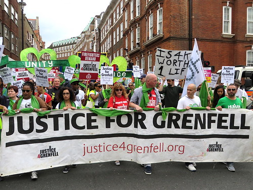 Justice for Grenfell banner, Westminster