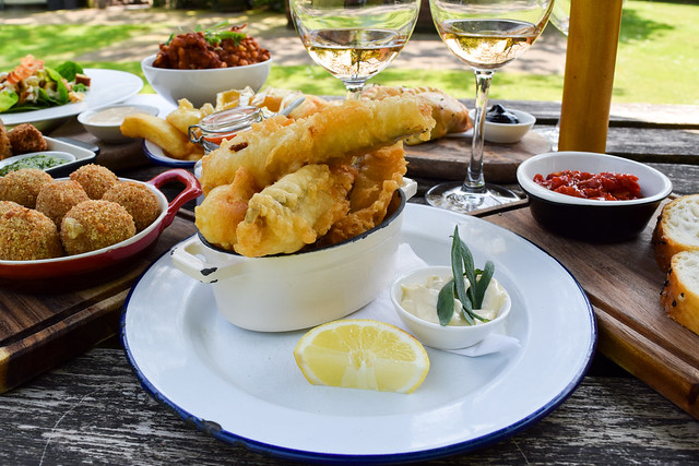 Battered Fish with Tarragon Mayo at The Compasses Inn, Crundale
