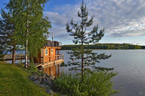 Classic finnish sauna. Floating sauna on the lake. Summer in Finland. Lake Päijänne. Sysmä