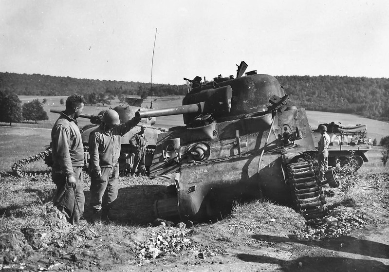 3rd_Infantry_Division_756th_Tank_Bn_M4_Sherman_Knocked_Out_Vesovi_France