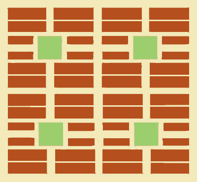 Sketch of Savannah's Town Plan showing four cellular wards, each containing eight city blocks around a square (four residential blocks in the corners, each split by a narrow lane, plus four smaller commercial blocks east and west of the square).