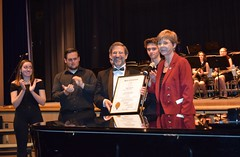Rep. Zawistowski helps Suffield High School students honor their Band Director Mr. Joseph Migliore