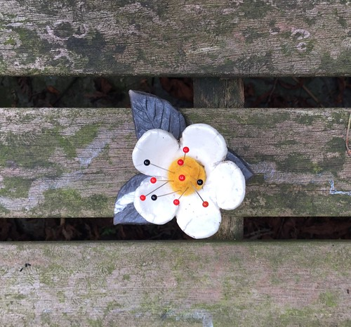 raku pincushion ceramic flower birman cat