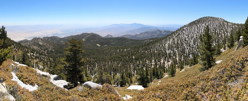 Panorama view east and south from the San Jacinto Peak Trail, Jean Peak on the right
