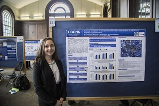 CAHNR's Maya Schlesinger at the UConn Frontiers research poster exhibition