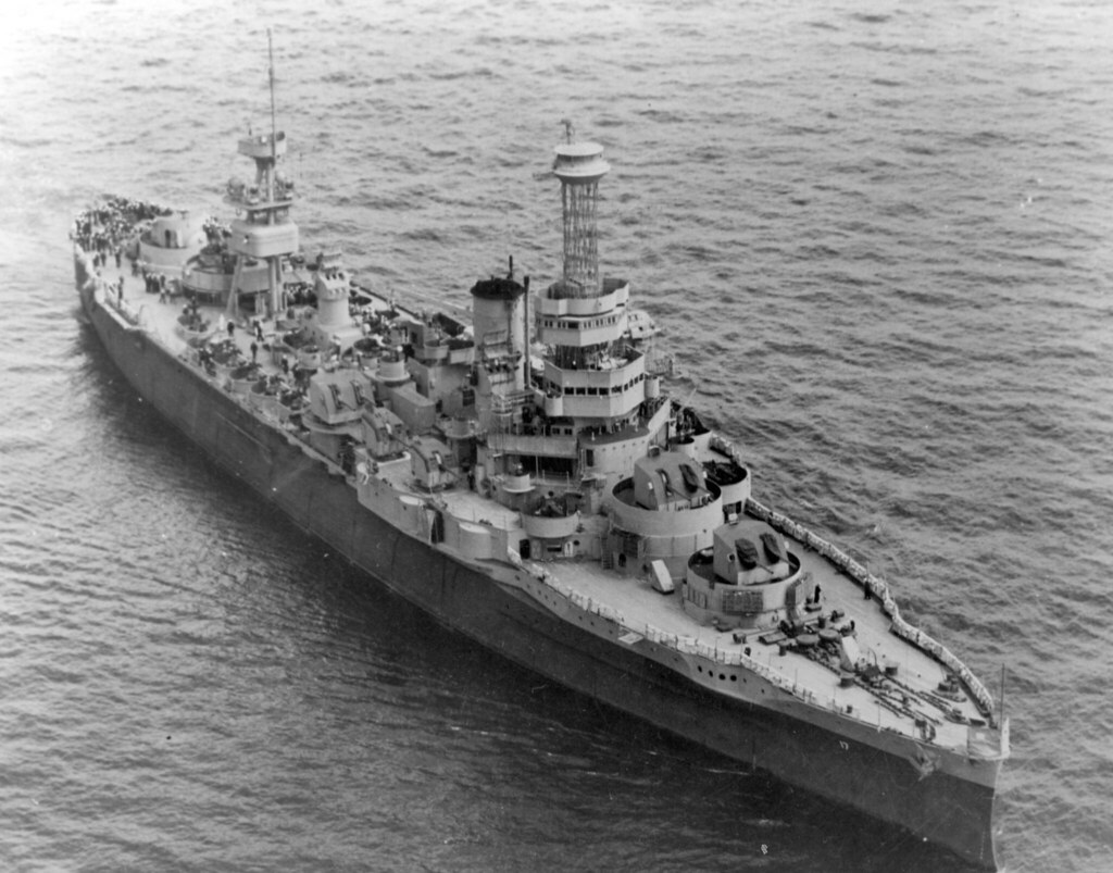 USS Wyoming (AG-17) on 18 April 1944, after replacement of her twelve-inch gun turrets with 5/38 twin gun mounts, but before her cage foremast was removed