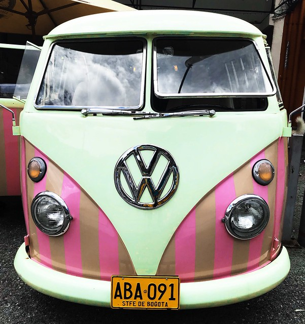 A single and unique pink Volkswagen Van