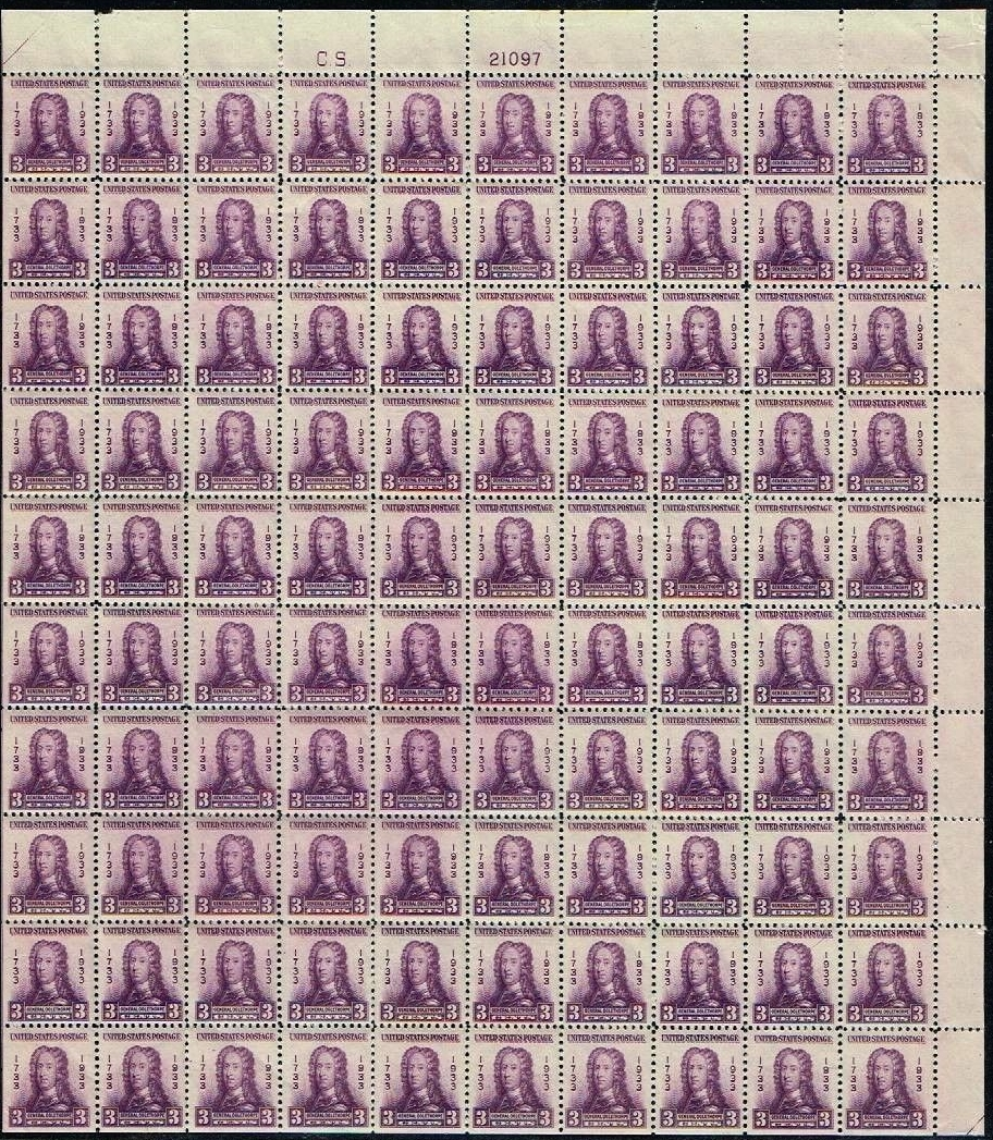 United States - Scott #726 (1933) - full sheet from upper right pane. From an active eBay auction (NIMC2018]