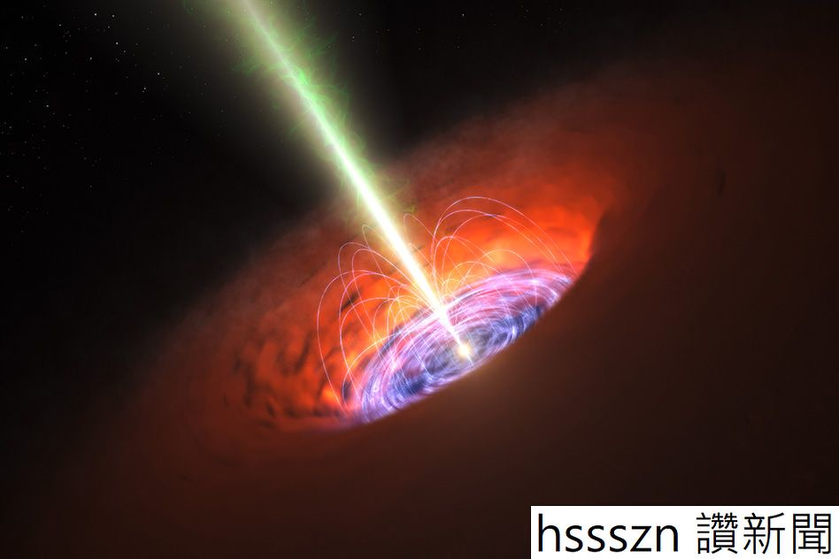 Artist's impression of a supermassive black hole at the centre of a galaxy