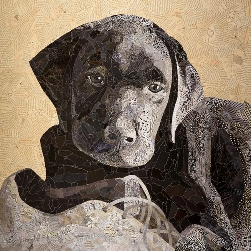 torn paper collage - Buddy by Laura Shabazz