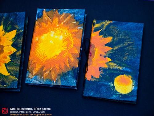 Gira-sol nocturn, llibre poema de Ferran Cerdans Serra, sèrie en acrílic de l'autor