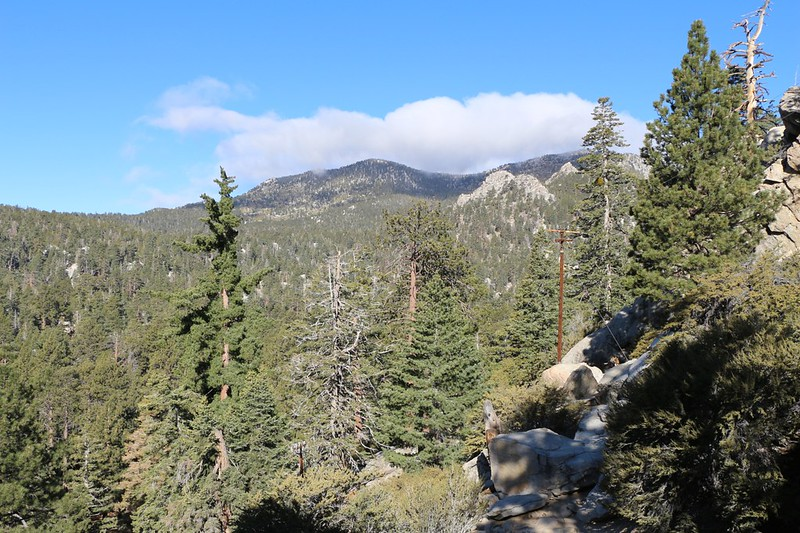 View up Long Valley toward cloud-shrouded San Jacinto Peak from the Upper Tram Station