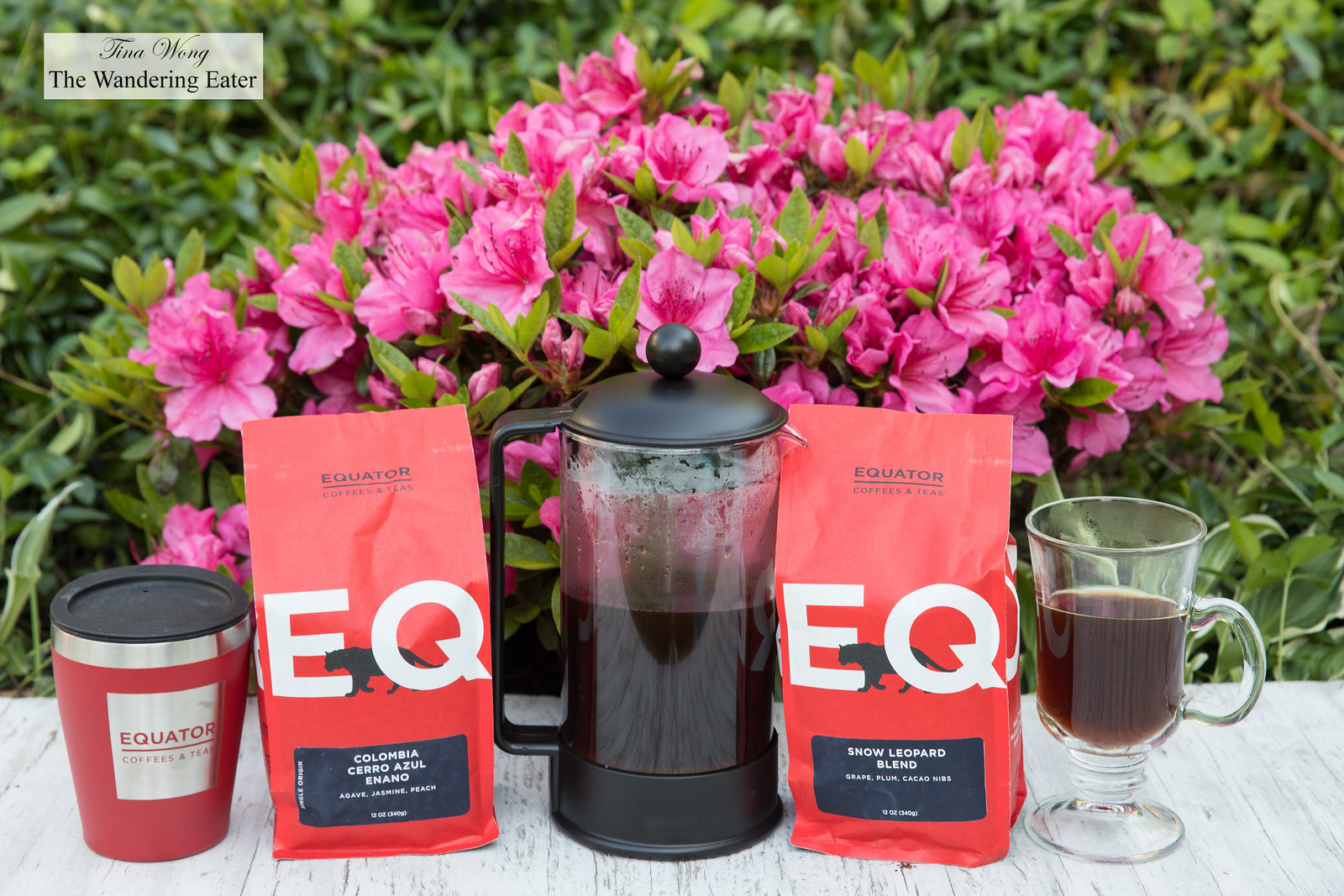 Equator Coffee beans and French press
