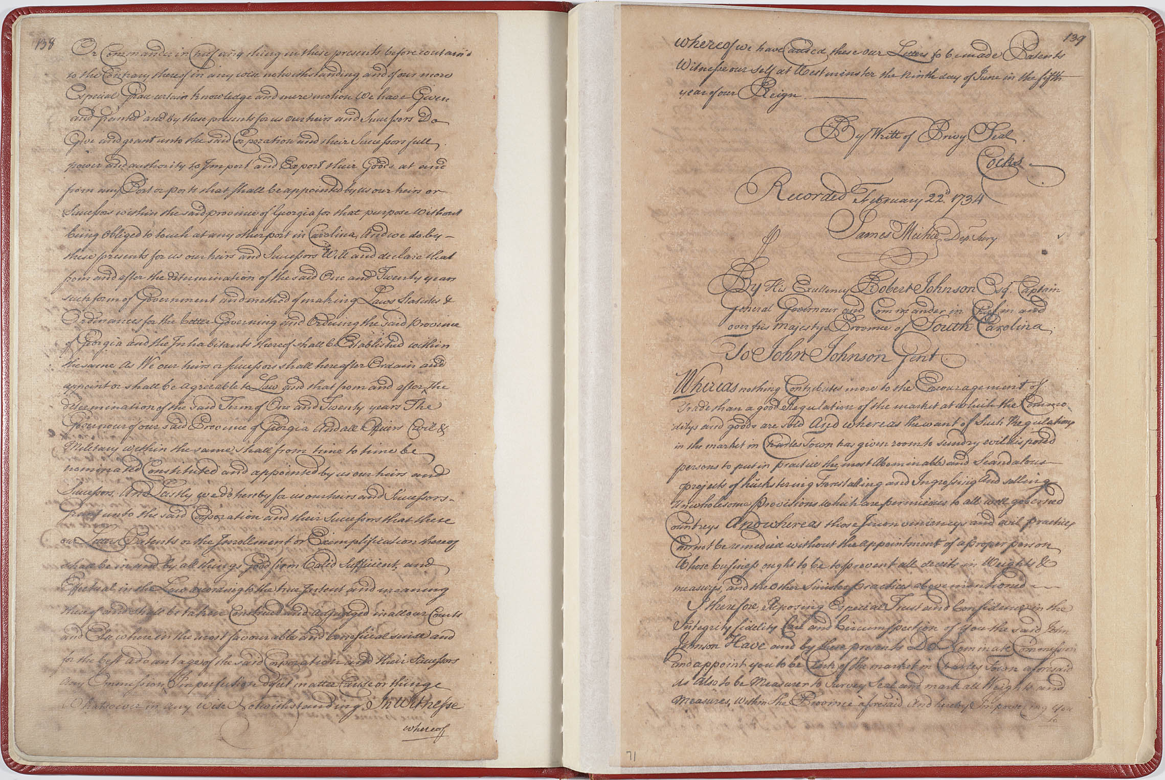 Manuscript pages from the Royal Charter for the Establishment of the Province of Georgia, signed by King George II on June 9, 1732.