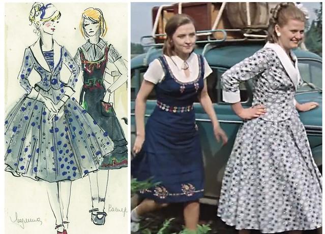 Эскизы платьев Катерины и Людмилы