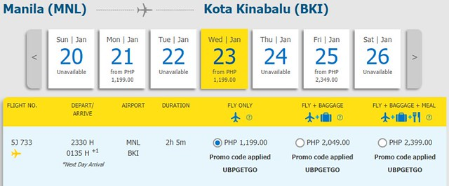 Manila to Kota Kinabalu Cebu Pacific Promo January 23, 2019