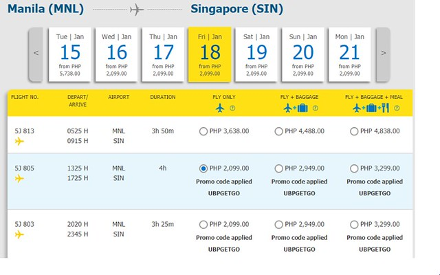 Manila to Singapore Cebu Pacific Promo January 18, 2019