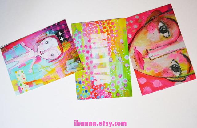Printed postcards from iHanna's Art Journal pages