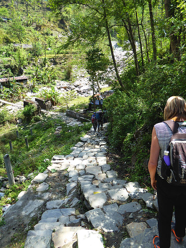 Mostly the more popular trails are lined with large flat stones taken from the surrounding Nepalese contryside.